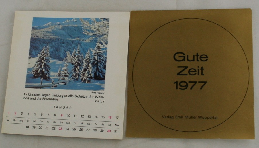 vintage calendar, landscape photos, scripture, German