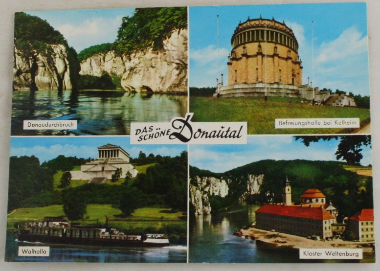 vintage postcard, Danube River Valley, Bavaria, Germany