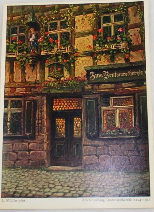 vintage postcard, Germany, L. Mobler, Nurnberg, Bavaria, Bratwurstherzle