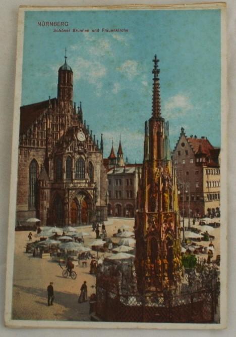 vintage postcard, Germany, lithograph, Schoner Brunnen, Frauenkirche, Nurnberg, Bavaria