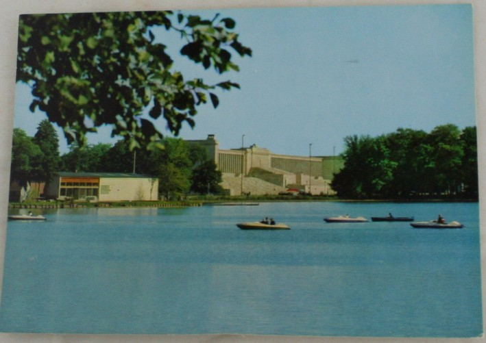 vintage vintage postcard, Germany,  Nurnberg, Bavaria, Dutzendteich and Tribune at Zeppelin Field