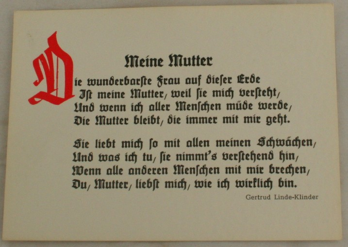 vintage postcard, Germany, Mother poem
