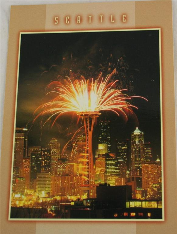 vintage postcard, Seattle, Washington, Space Needle, fireworks