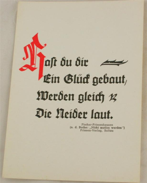 vintage postcard, Germany,  Saying, Calligraphy