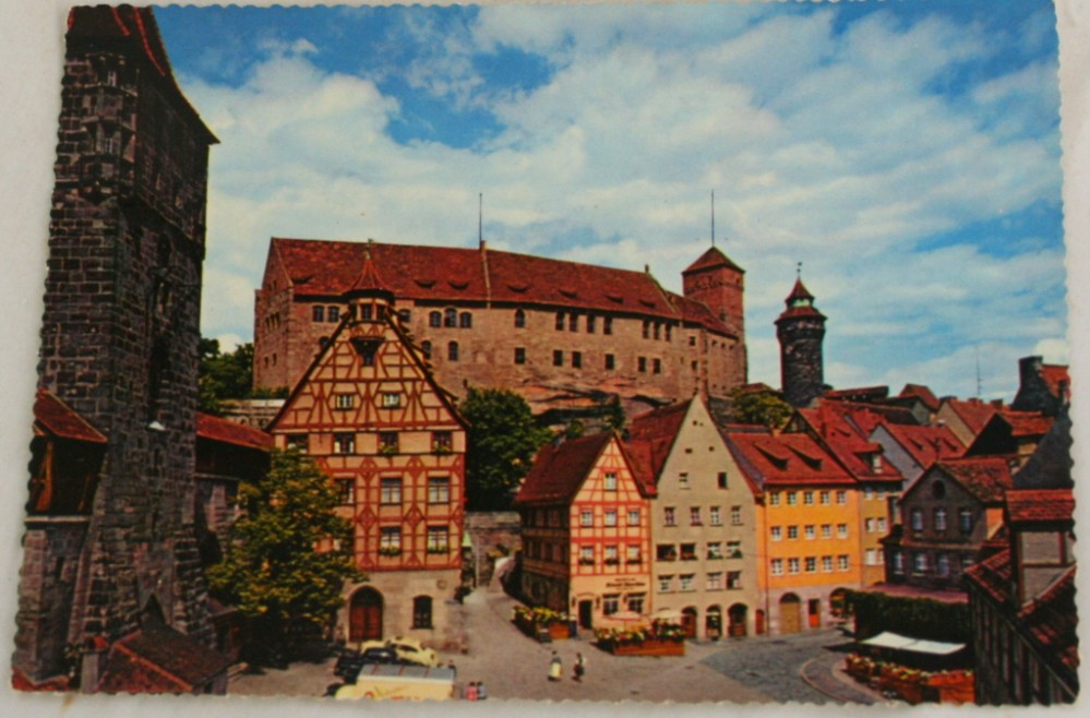 vintage postcard, Germany, town view, Nurnberg, Bavaria