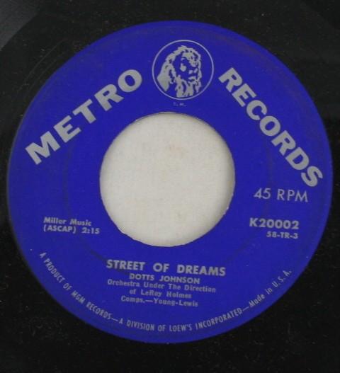 vintage record, Dotts Johnson, Street of Dreams, Metro Records, 45, vinyl