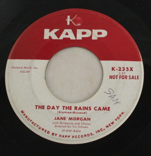 vintage record, Jane Morgan, The Day The Rains Came, Kapp, 45, vinyl