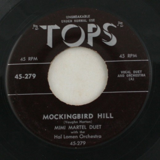 vintage record, vinyl, 45, Mimi Martel, Mockingbird Hill, Aba Daba Honeymoon, Tops Records