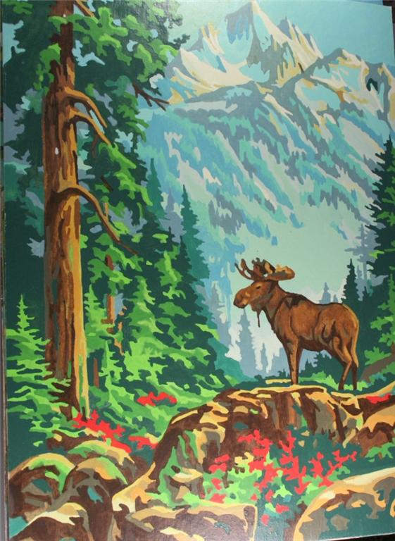 vintage paint by number, completed, finished, moose, eagle, forest, mountain