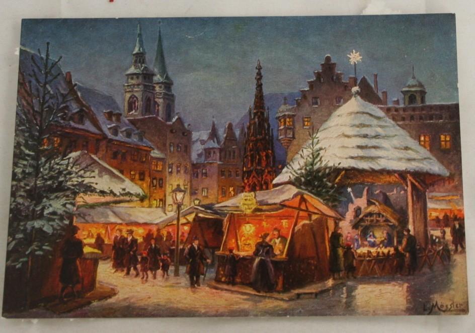 vintage postcard, Germany, Nurnberg, Christkindlmarkt, Ludwig Mossler