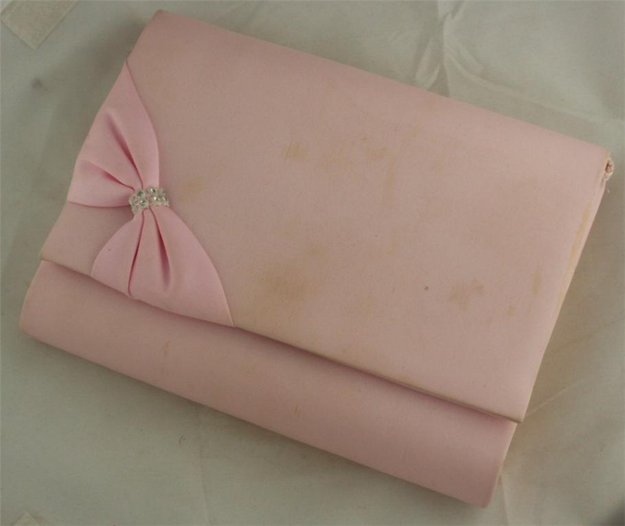evening bag, pink, Joan Bari, rhinestone, Bow