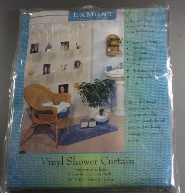 vinyl shower curtain, clear, vinyl pockets, LaMont