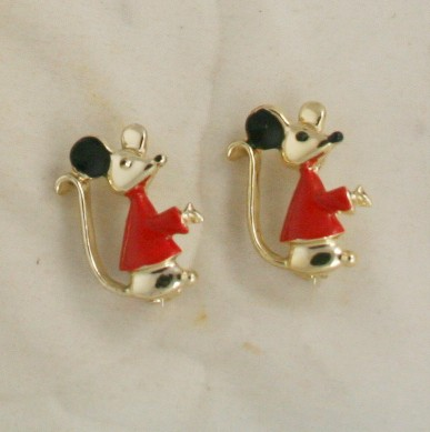 vintage pin set, costume jewelry, nice, mouse, enameled,50s, twin set