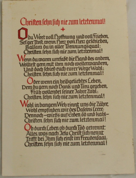 vintage postcard, poem, religious, German, calligraphy