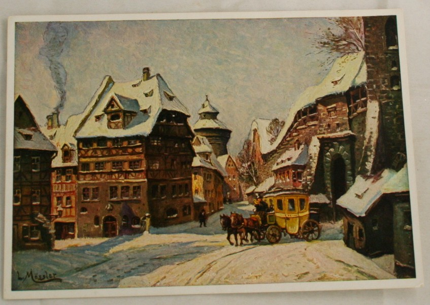 vintage postcard, Nurnberg, Winter Morning, L. Mossler