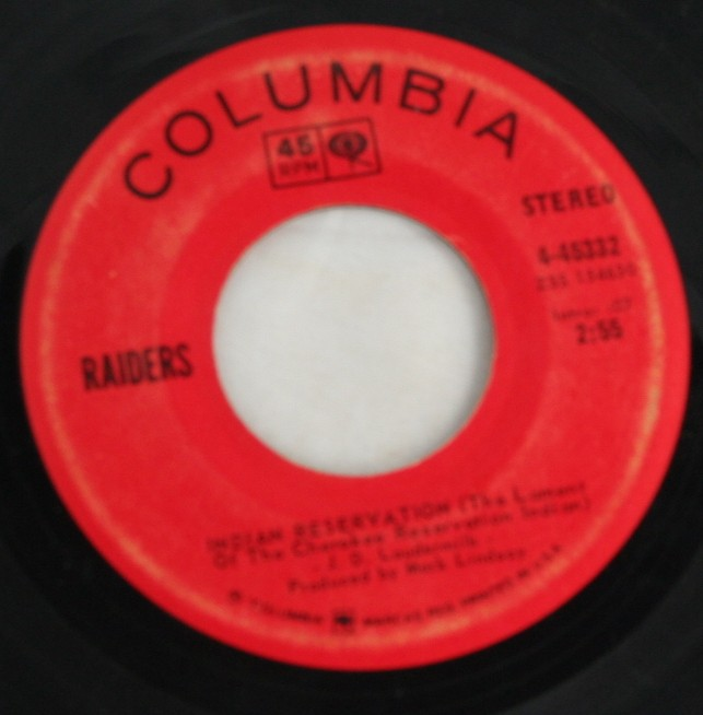 vintage vinyl, record, 45, Raiders, Indian Reservation,Terry's Tune,Columbia