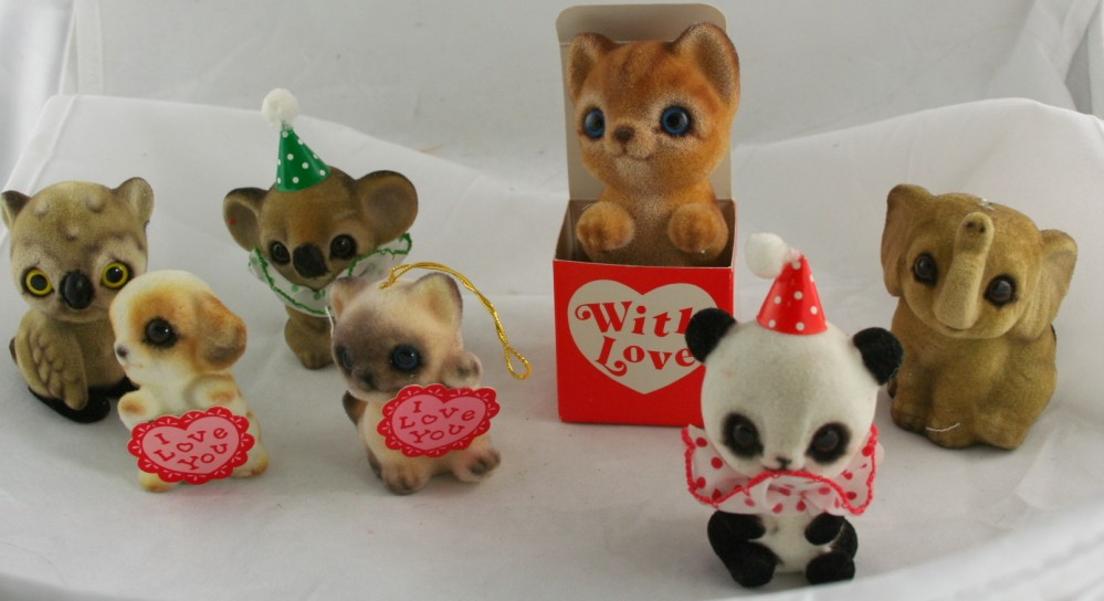 vintage figurine, Josef Originals, elephant, owl, cat, dog, fuzzy