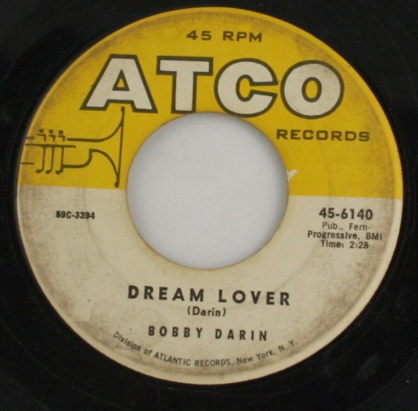 vintage record, vinyl, 45, Bobby Darin,Dream Lover,Bullmoose,Atco