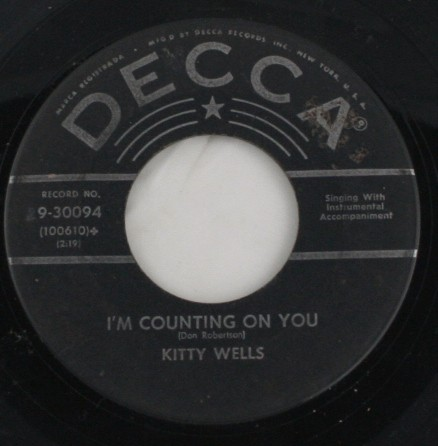 vintage record, vinyl, 45, Kitty Wells,I'm Counting on You,Repenting,Decca