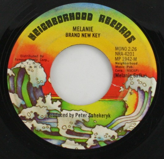 vintage vinyl, record, 45, Melanie,Brand New Key,Some Say (I Got Devil),Neighborhood