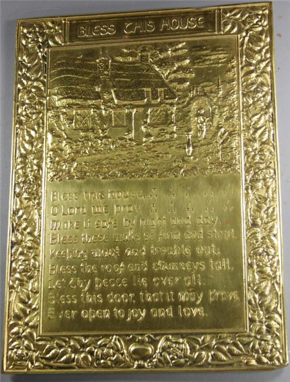 vintage plaque, brass, Bless This House