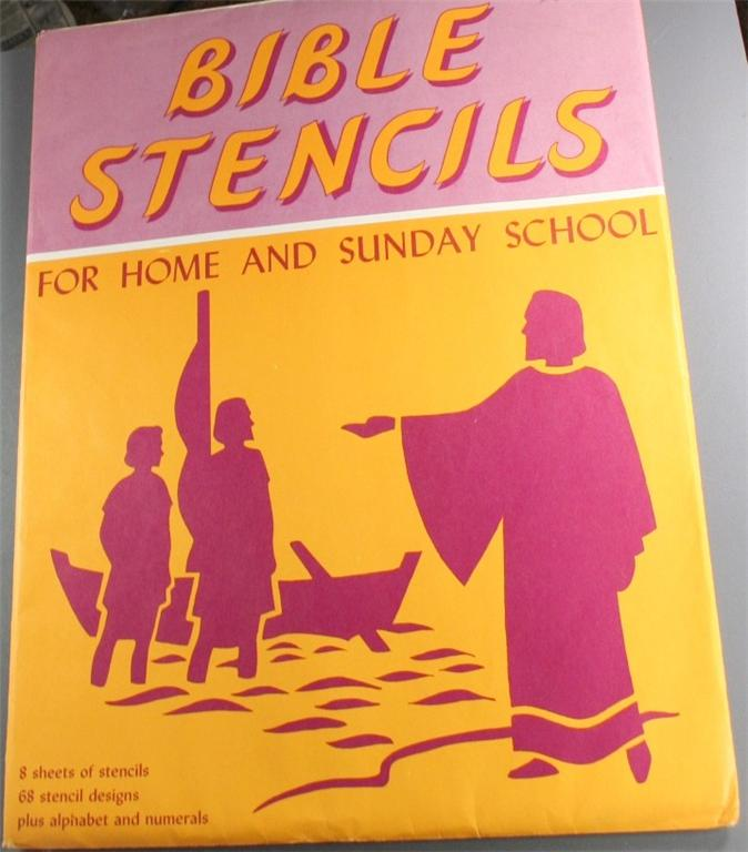 vintage sunday school, stencils, Bible, 1950s