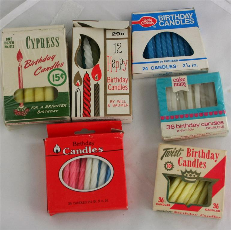 vintage birthday candles, candles, birthday