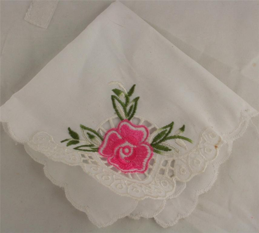 handkerchief, machine embroidered, cutwork, rose