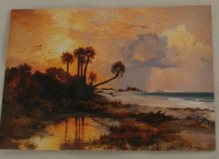 vintage postcard, art postcard, Thomas Moran, Fort George Island