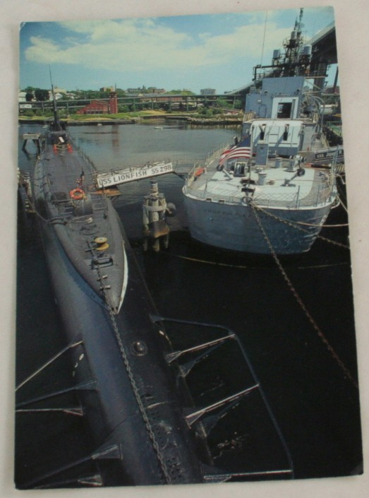 vintage postcard, Massachussets, USS Lionfish, USS Robert F. Kennedy, Jr, Fall River
