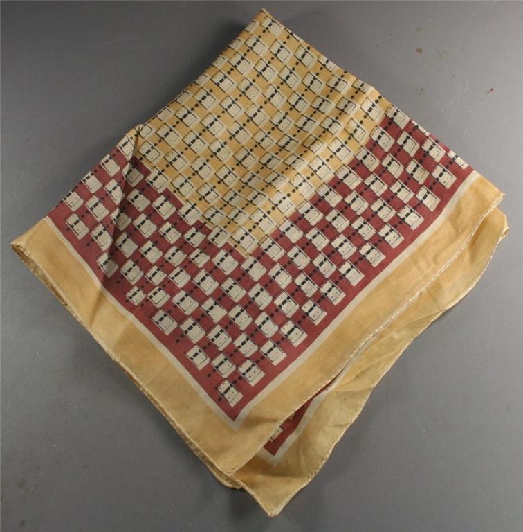 vintage scarf, silk, border print