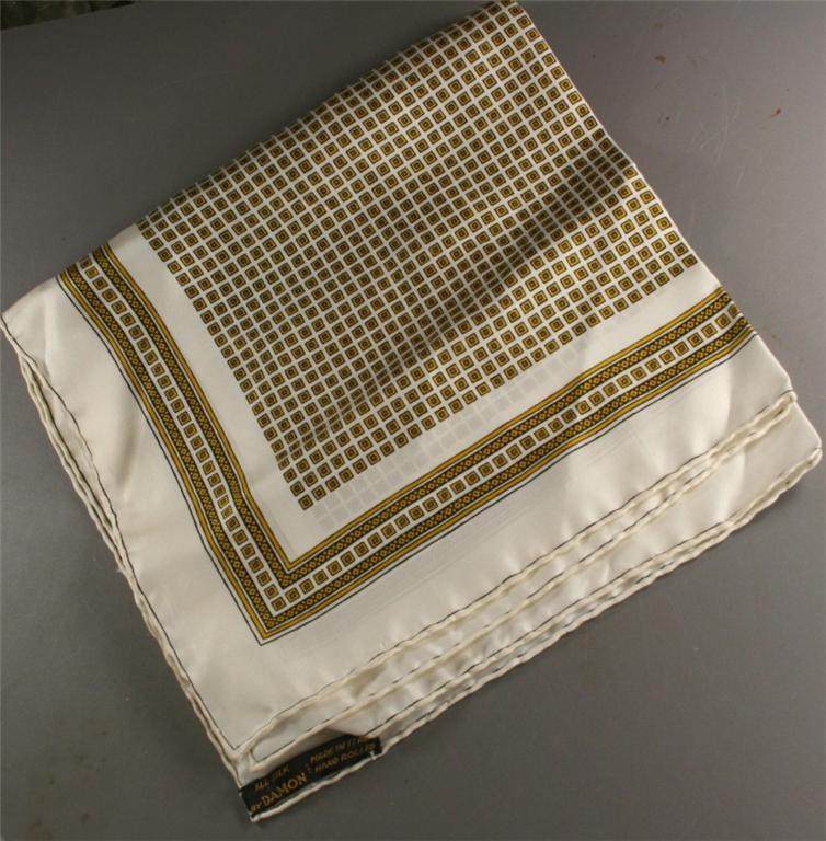 vintage scarf, silk ,Italy, border print