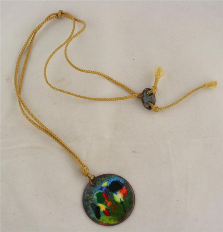 vintage jewelry, necklace, pendant, copper, enamel