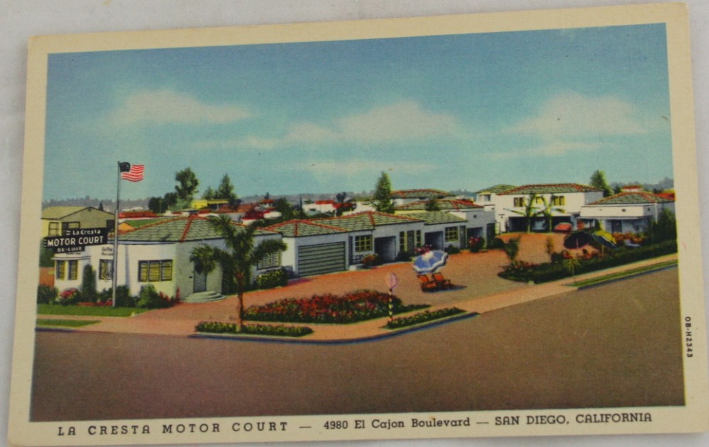 vintage postcard,lithograph,California, San Diego, La Cresta Motor Court