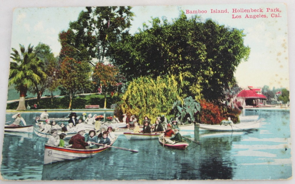 vintage postcard,hand colored,hand coloured,California, Los Angeles, Bamboo Island,Hollenbeck Park