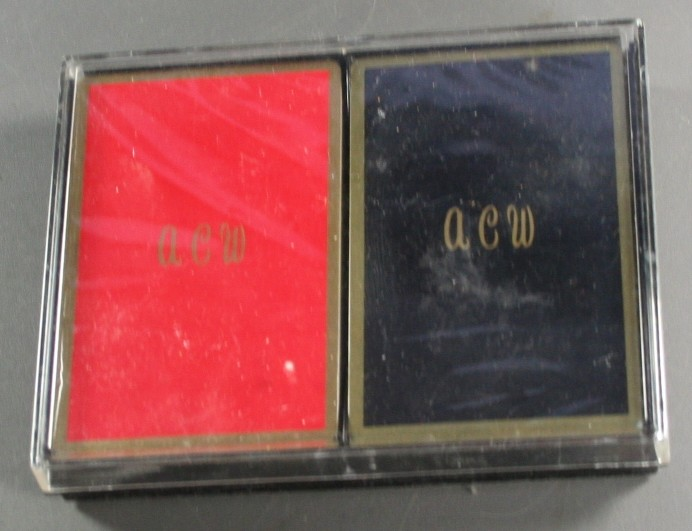 vintage playing cards, monogram, ACW, unopened