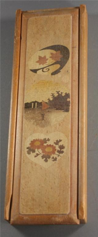 vintage pencil box, handcrafted, wood