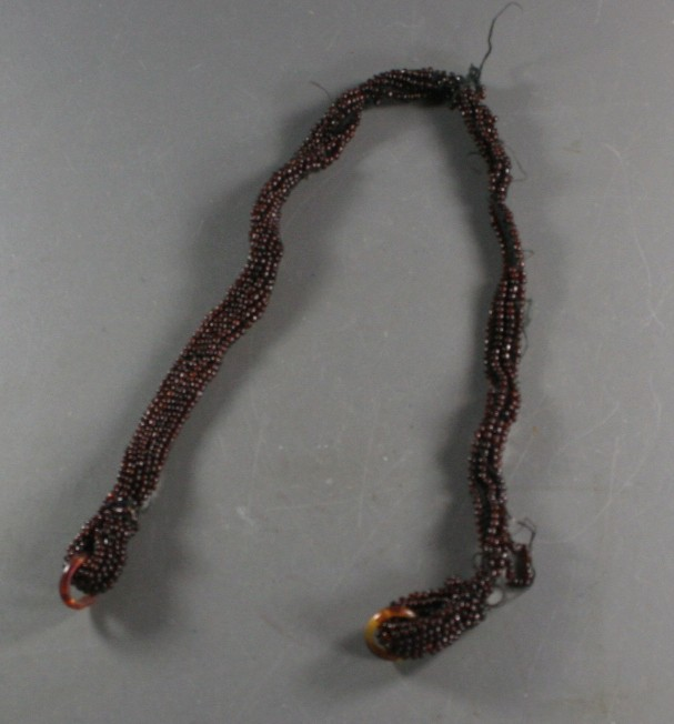 vintage seed beads, necklace, brown