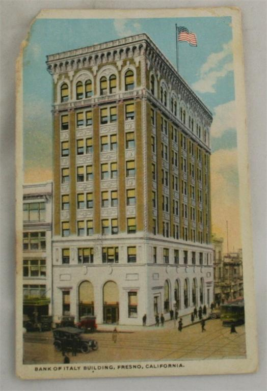 vintage postcard,Fresno, California, CA, Bank of Italy Building, Hand colored, hand coloured