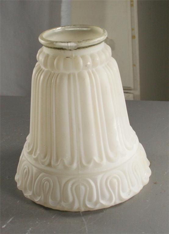 vintage glass shade, satin glass, white, architectural, shade