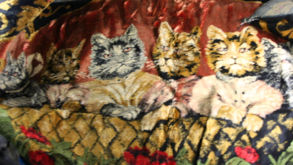 vintage tapestry, kittens, Made in Italy, rayon, cotton