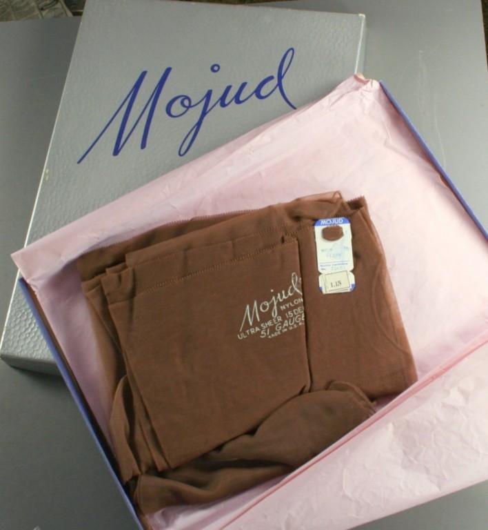 vintage nylons,hosiery,thigh high,seamed, reinforced toe,Mojud