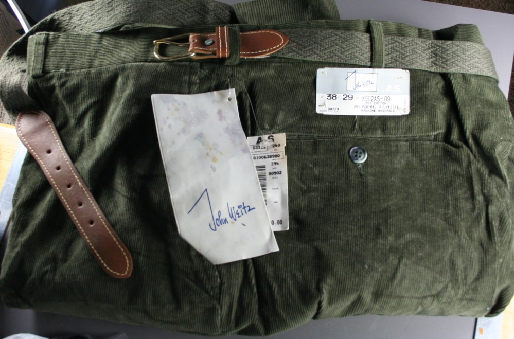 men's pants,corduroy,green,John Weitz