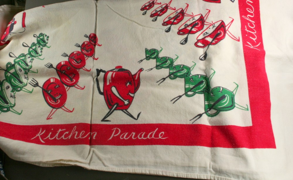 vintage towel, cotton, screen printed, kitchen parade