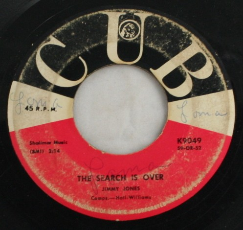 vintage 45,vinyl,CUB Records,Jimmy Jones, Handy Man,The Search is Over