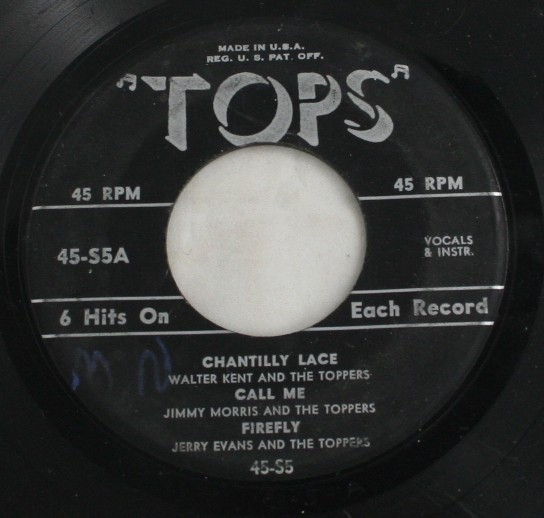 vintage 45,vinyl,Tops,6 hits,Chantilly Lace,Call Me,Firefly,Guaglione,Tom Dooley,Topsy