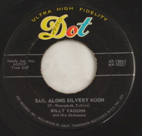 vintage record,45,vinyl,Billy Vaughn,Sail Along Silvery Moon, Dot Records