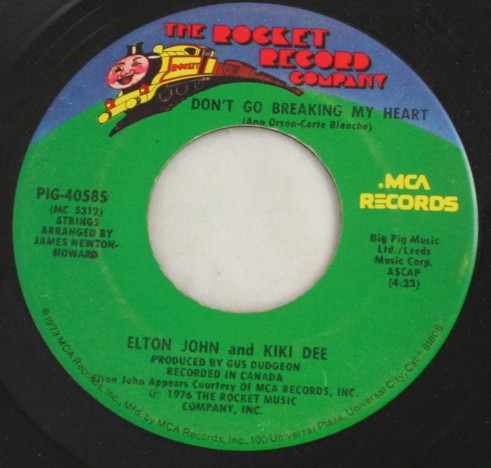 vintage record,45,vinyl,Elton John,Kiki Dee,Don't Go Breaking My Heart, Rocket Records