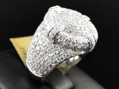 New Mens White Gold Round Diamond 3D Iced Out XL Pinky