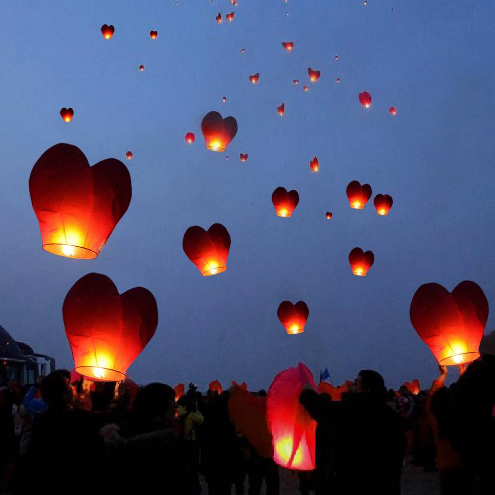 20 Red Heart Paper Chinese Lanterns Sky Fly Candles Lamps Wishing Party Wedding EBay